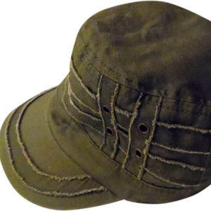 D&Y Army Green Distressed Boho Cadet Military Hat